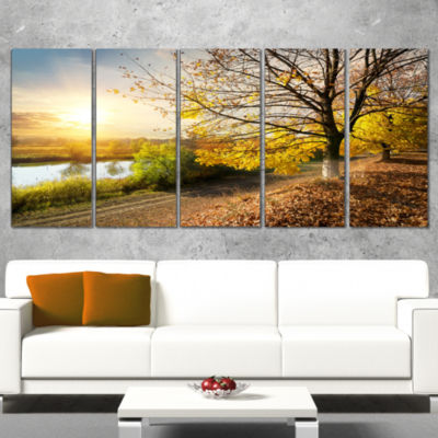 Beautiful Road By The River Large Landscape CanvasArt - 5 Panels