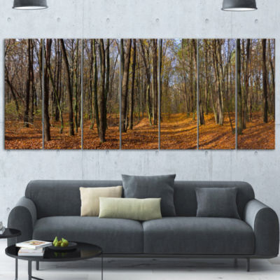 Designart Dense Fall Forest Panorama Forest CanvasArt Print- 5 Panels