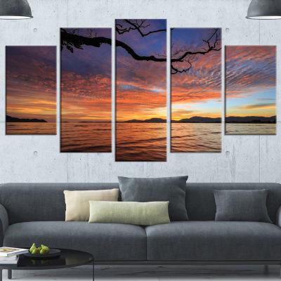 Designart Beautiful Sunset Beach In Phuket Seashore Canvas Art Print - 5 Panels