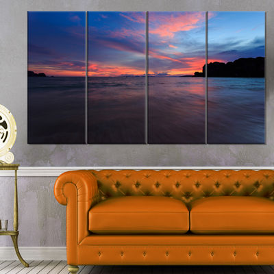 Designart Sunset At Railay Beach Andaman Sea Seashore Canvas Art Print - 4 Panels