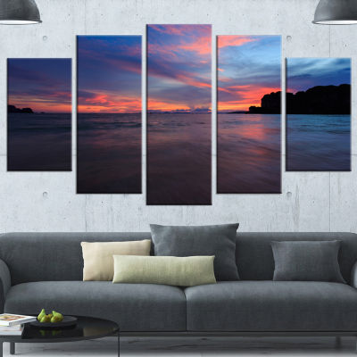 Designart Sunset At Railay Beach Andaman Sea Seashore Wrapped Canvas Art Print - 5 Panels
