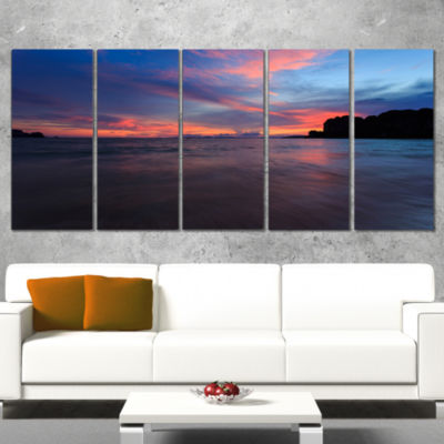 Sunset At Railay Beach Andaman Sea Seashore CanvasArt Print - 5 Panels