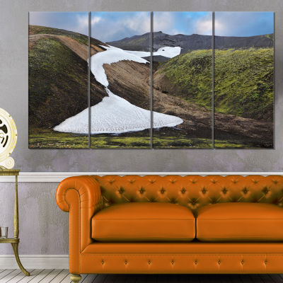 White Spots Snowfields In Gullies Large LandscapeCanvas Art - 4 Panels