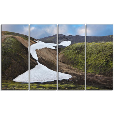 Designart White Spots Snowfields In Gullies LargeLandscapeCanvas Art - 4 Panels