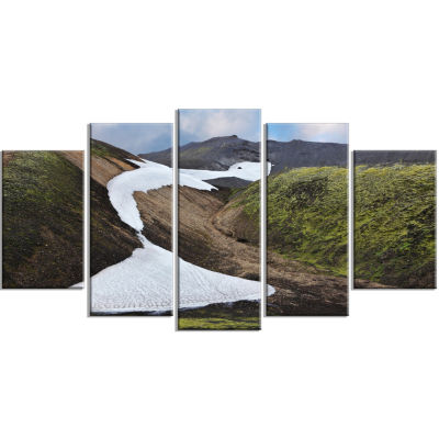 White Spots Snowfields In Gullies Large LandscapeWrapped Canvas Art - 5 Panels