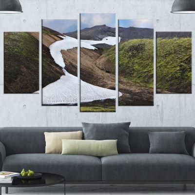Design Art White Spots Snowfields In Gullies LargeLandscapeCanvas Art - 5 Panels