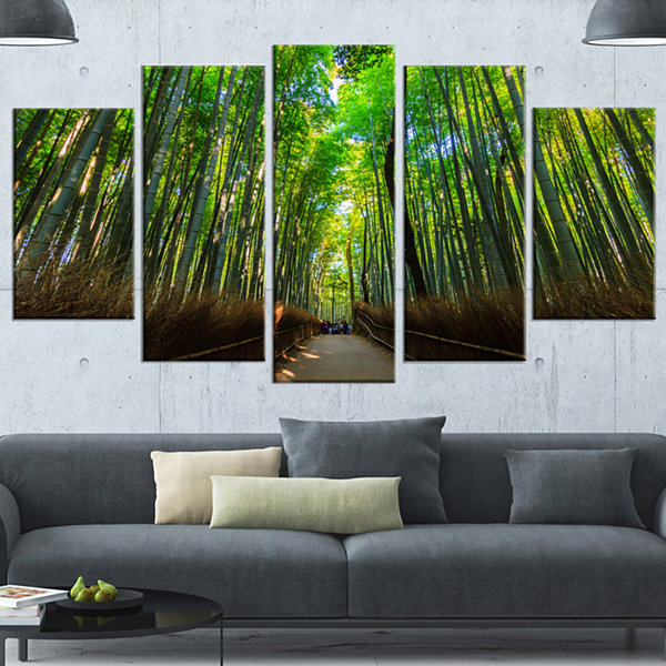 Designart Road Through Dense Bamboo Groves LargeLandscape Wrapped Canvas Art - 5 Panels