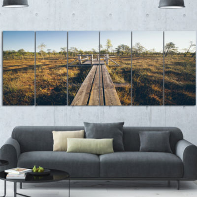 Designart Retro Grainy Film Look Footpath Large Landscape Canvas Art - 4 Panels