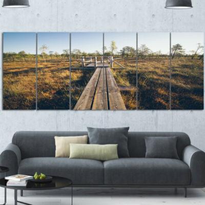 Design Art Retro Grainy Film Look Footpath Large Landscape Canvas Art - 6 Panels