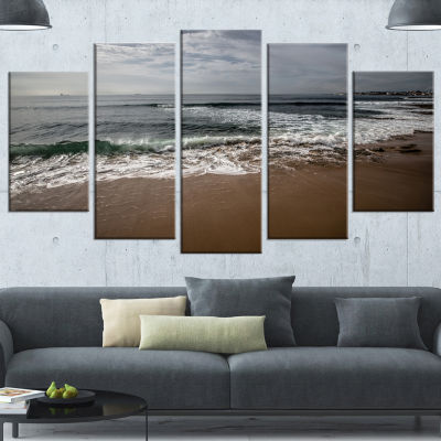 Designart Soft Waves Of Sea On Sandy Beach Seashore Canvas Art Print - 5 Panels