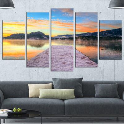 Designart Bled With Lake In Winter Slovenia BridgeWrapped Canvas Art Print - 5 Panels