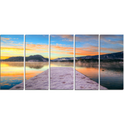 Bled With Lake In Winter Slovenia Bridge Canvas Art Print - 5 Panels