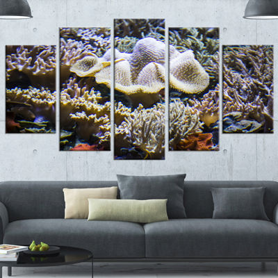 Designart Beautiful Seabed With Fish Large Landscape Wrapped Canvas Art - 5 Panels