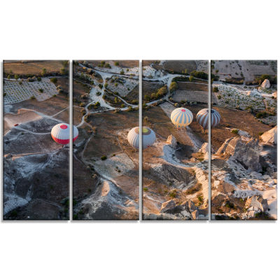 Flight With Balloons At Sunrise Large Landscape Canvas Art - 4 Panels