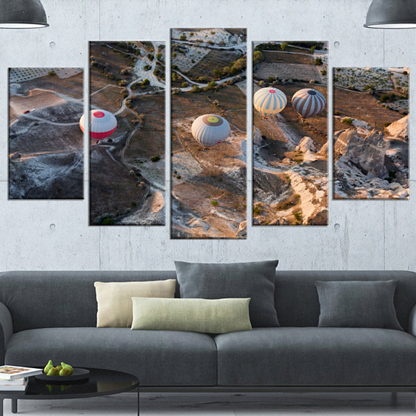 Designart Flight With Balloons At Sunrise Large Landscape Wrapped Canvas Art - 5 Panels