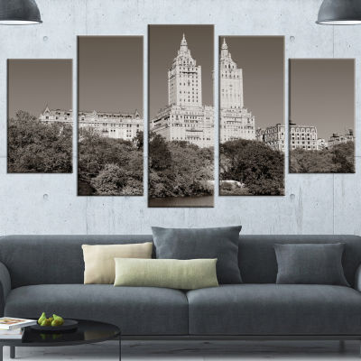 Designart Beautiful Central Park Autumn White Extra Large Canvas Art Print - 5 Panels