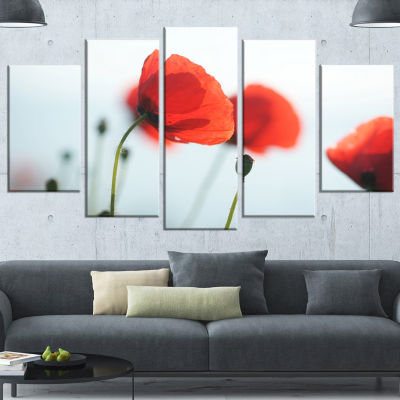 Designart Poppies On Background Of Sea Large Floral Canvas Art Print - 5 Panels