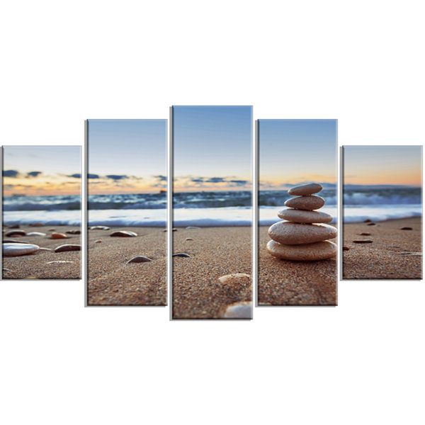 Design Art Stones Balance On Sandy Beach SeashoreWrapped Canvas Art Print - 5 Panels