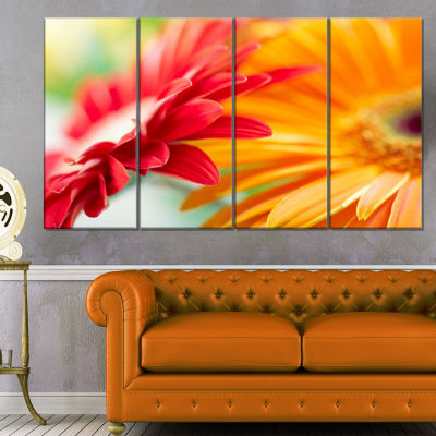 Designart Red And Yellow Daisy Flower Floral Canvas Art Print - 4 Panels