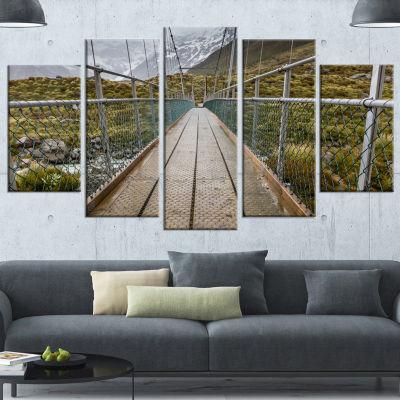 Designart Bridge Over Hooker River In Aoraki Bridge Canvas Art Print - 4 Panels