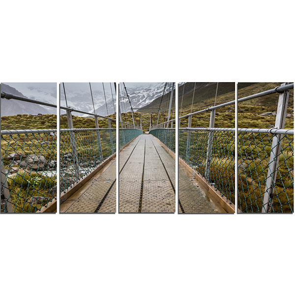 Designart Bridge Over Hooker River In Aoraki Bridge Canvas Art Print - 5 Panels