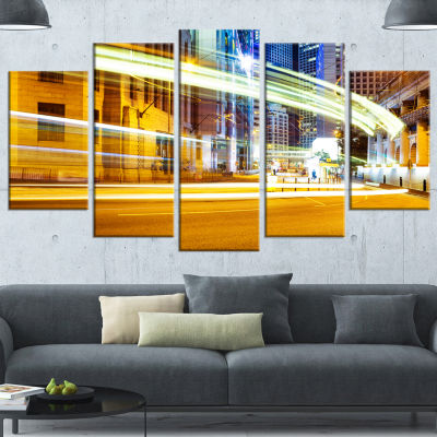 Designart Blur Motion Traffic Trail In Modern CityGold Extra Large Canvas Art Print - 5 Panels