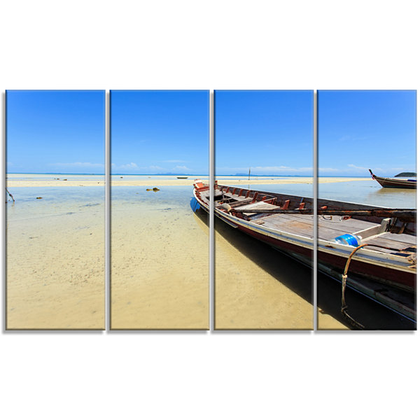 Designart Traditional Thai Boat On Beach SeashoreCanvas Art Print - 4 Panels