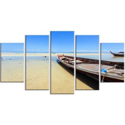 Traditional Thai Boat On Beach Seashore Wrapped Canvas Art Print - 5 Panels