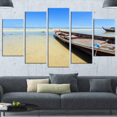 Traditional Thai Boat On Beach Seashore Canvas ArtPrint - 5 Panels