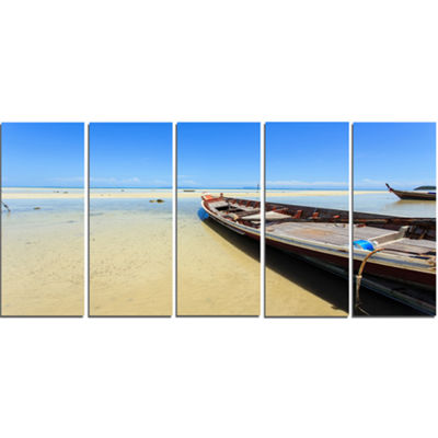 Designart Traditional Thai Boat On Beach SeashoreCanvas Art Print - 5 Panels