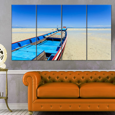 Long Tail Boat Stand At The Beach Seashore CanvasArt Print - 4 Panels
