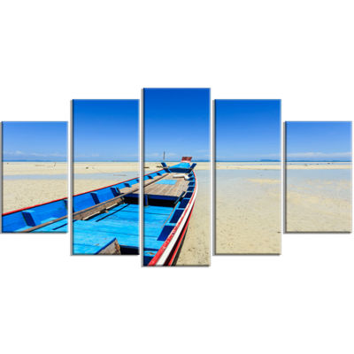 Designart Long Tail Boat Stand At The Beach Seashore Wrapped Canvas Art Print - 5 Panels