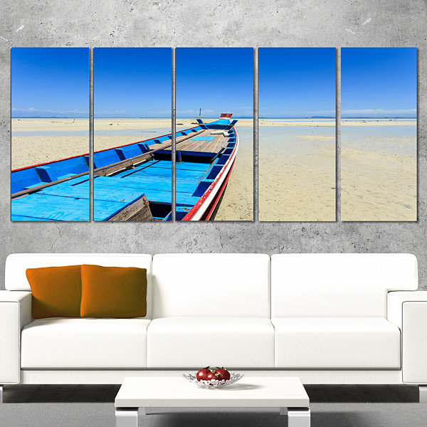 Design Art Long Tail Boat Stand At The Beach Seashore Canvas Art Print - 5 Panels