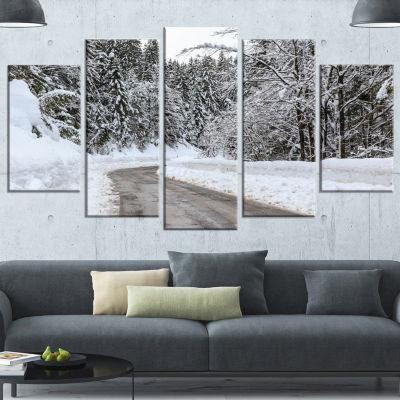 Foggy Winter Road In Slovenia Large Landscape Canvas Art - 4 Panels