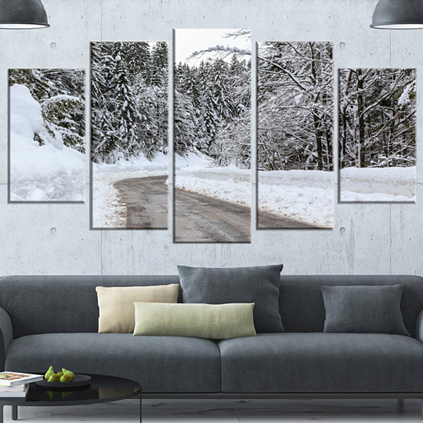 Design Art Foggy Winter Road In Slovenia Large Landscape Wrapped Canvas Art - 5 Panels