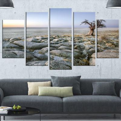 Designart Baobab Tree On Rocky Terrain Large Landscape Canvas Art - 5 Panels