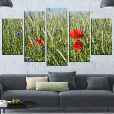 Design Art Rural Landscape With Red Poppies LargeLandscape Canvas Art - 4 Panels