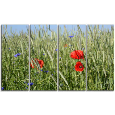 Rural Landscape With Red Poppies Large Landscape Canvas Art - 4 Panels