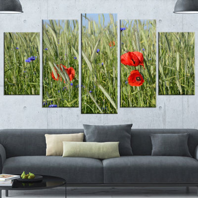 Designart Rural Landscape With Red Poppies LargeLandscape Wrapped Canvas Art - 5 Panels