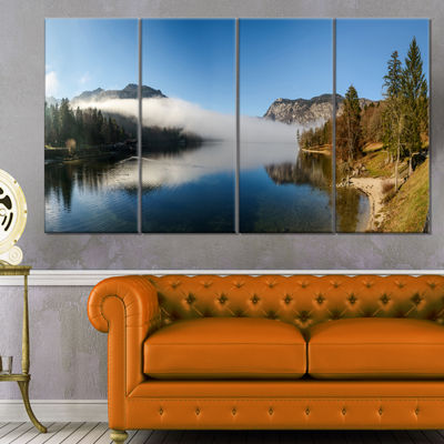 Designart Bohinj Lake Panorama Seashore Canvas ArtPrint - 4 Panels
