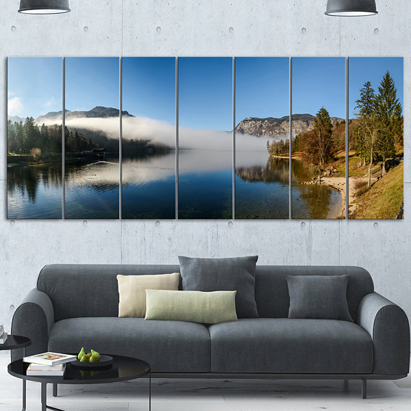 Designart Bohinj Lake Panorama Seashore Canvas ArtPrint - 6 Panels