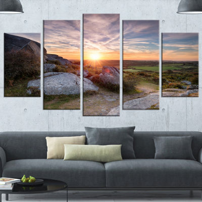 Designart Stunning Sunrise Over Countryside Seashore Wrapped Canvas Art Print - 5 Panels