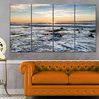 Designart White Surf With Turbulent Sea SeashoreCanvas Art Print - 4 Panels