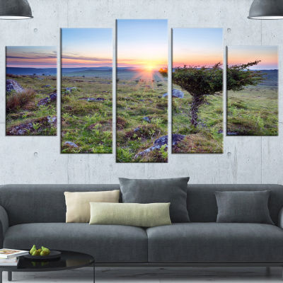 Sunset On Bodmin Moor Large Landscape Canvas Art -4 Panels