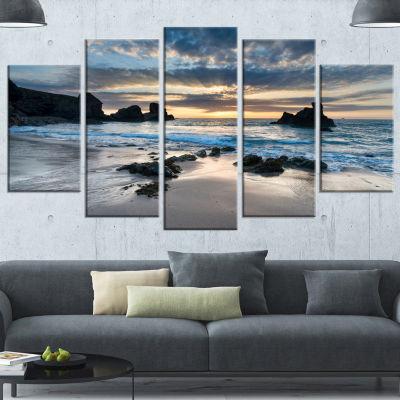 Designart Beautiful Porthcothan Bay Seashore Canvas Art Print - 4 Panels