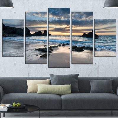 Beautiful Porthcothan Bay Seashore Wrapped CanvasArt Print - 5 Panels