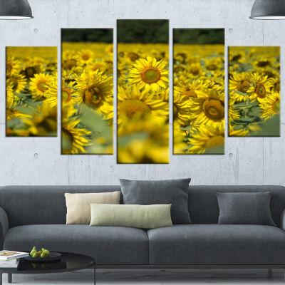 Designart Bright Yellow Sunflowers Field Floral Canvas Art Print - 5 Panels