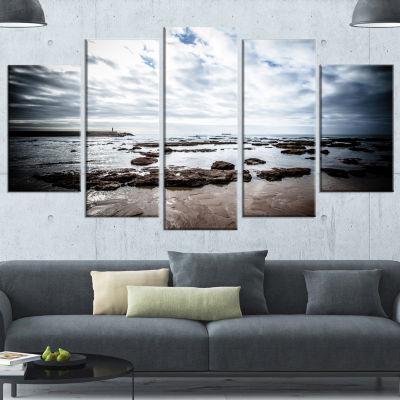 Designart Dramatic Atlantic Coast At Low Tide Seashore Canvas Art Print - 4 Panels