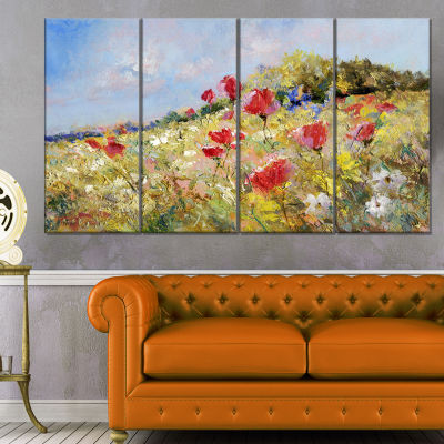 Designart Painted Poppies On Summer Meadow LargeLandscape Canvas Art - 4 Panels