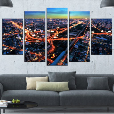 Designart Bangkok Expressway Aerial View Blue Extra Large Canvas Art Print - 5 Panels